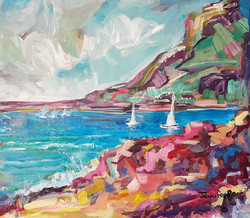 Pink boardwalk with Yachts - SOLD