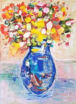 Flowers in a blue vase - SOLD
