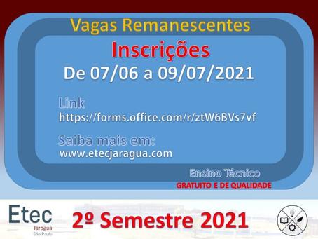 Vagas Remanescentes - 2º semestre 2021