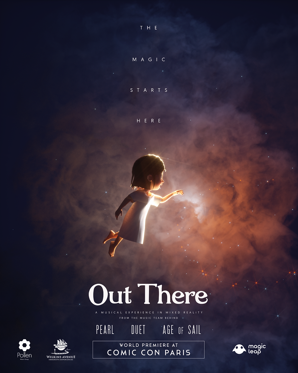 "Poster of ""Out There"", the first immersive musical in Mixed Reality, premiering at Comic Con Paris"