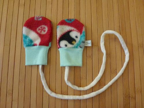Handschuhe Pinguin rot/ türkis