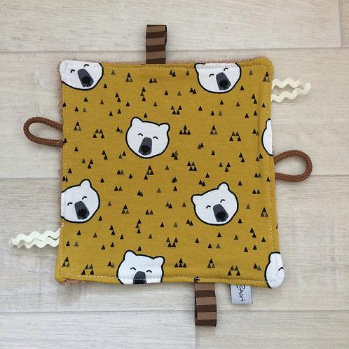 Fühl- Spieltuch Bär senf