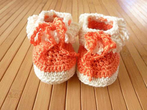 Halbstiefel *newborn* orange/ weiss zum binden