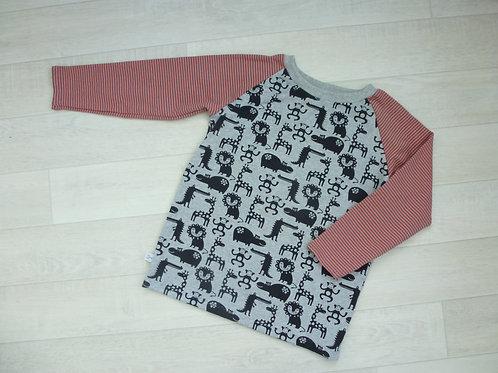 Shirt mit Tieren grau/ coralle. 116