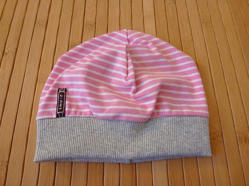 Mütze, Streifen rosa/ weiss