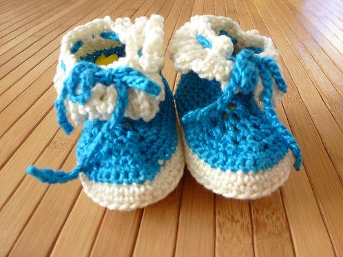 Halbstiefel *newborn* blau/ weiss zum binden