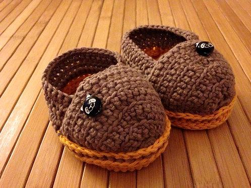 Schuhe braun/ orange mit 2 Bären