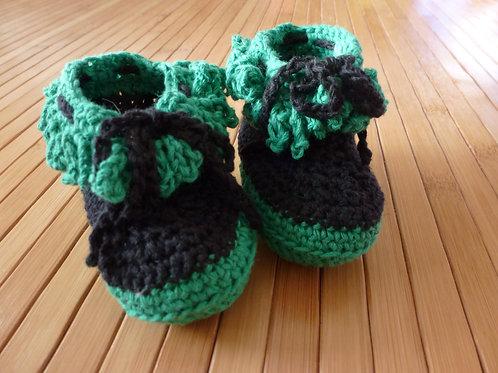 Halbstiefel *newborn* schwarz/ grün zum binden