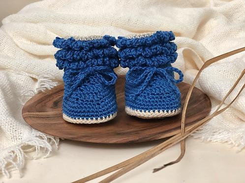BabySchühchen •königsblau& bambus• (Sohlenlänge 10cm)