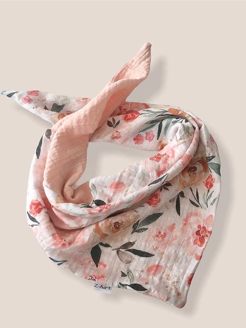 Musselintuch/-schal, Blumenwiese- rosa