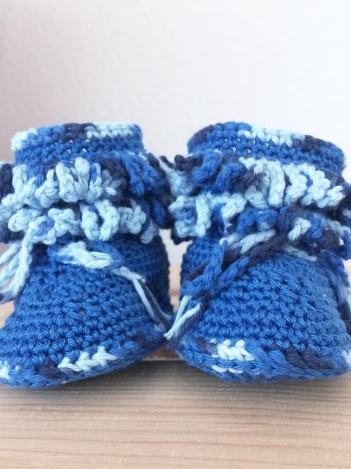 Stiefelchen mit Zotteln blau, zum Binden