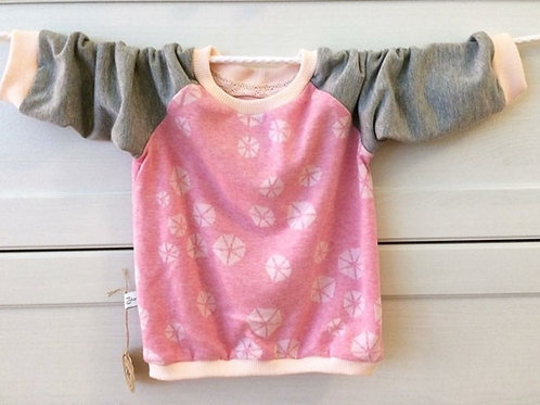 Pullover grau/rosa, Grösse 80/86