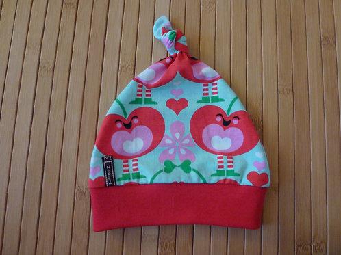 Mütze, rote Apfelherzen/ türkis *newborn* ca. 40