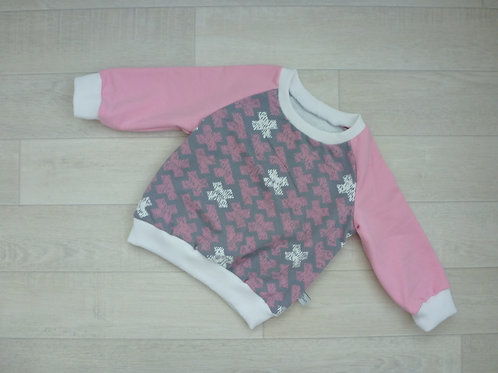 Pulli rosa/ grau cross. 80