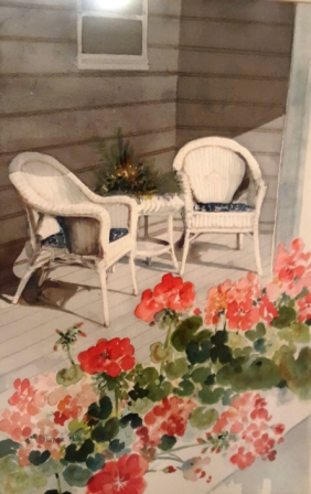 front porch and geraniums