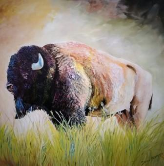 original bison painting,buffalo art