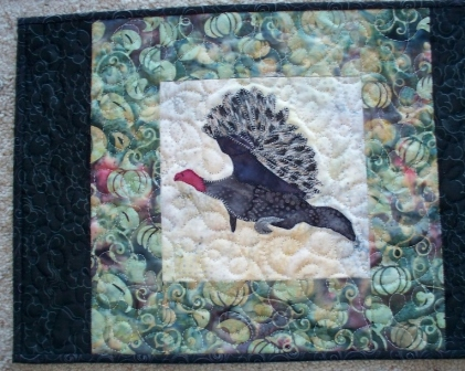 turkey art quilt by Cathy Little
