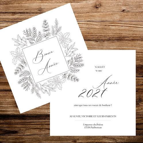 """Carte couronne """"Bonne année"""" - X 10 exemplaires"""