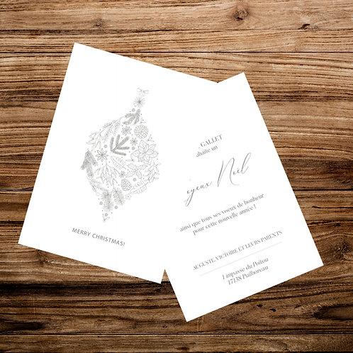 Carte Joyeux Noël - Minimaliste - X10 exemplaires