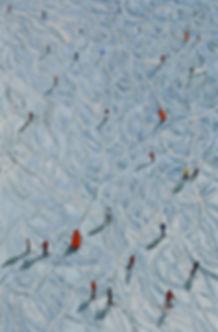 20 Skifahrer 15 Oel auf Leinwand 90x60cm