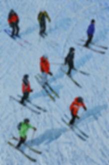 22 Skifahrer 15 Oel auf Leinwand 90x60cm