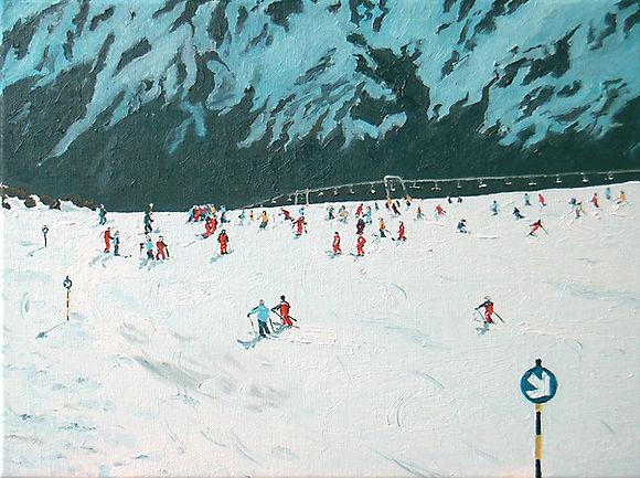 Skifahrer 4 05 Oel auf Leinwand 30x40.jp