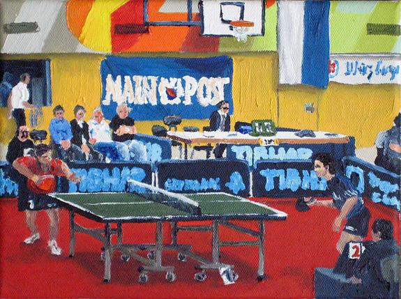 Tischtennis 1 06 Oel auf Leinwand 18x24.