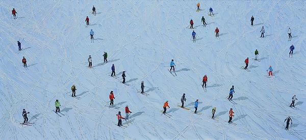 21 Skifahrer 15 Oel auf Leinwand 90x200c