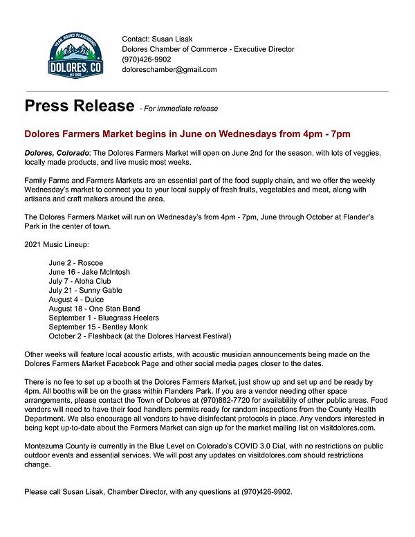 2021 Press Release Dolores Farmers Marke