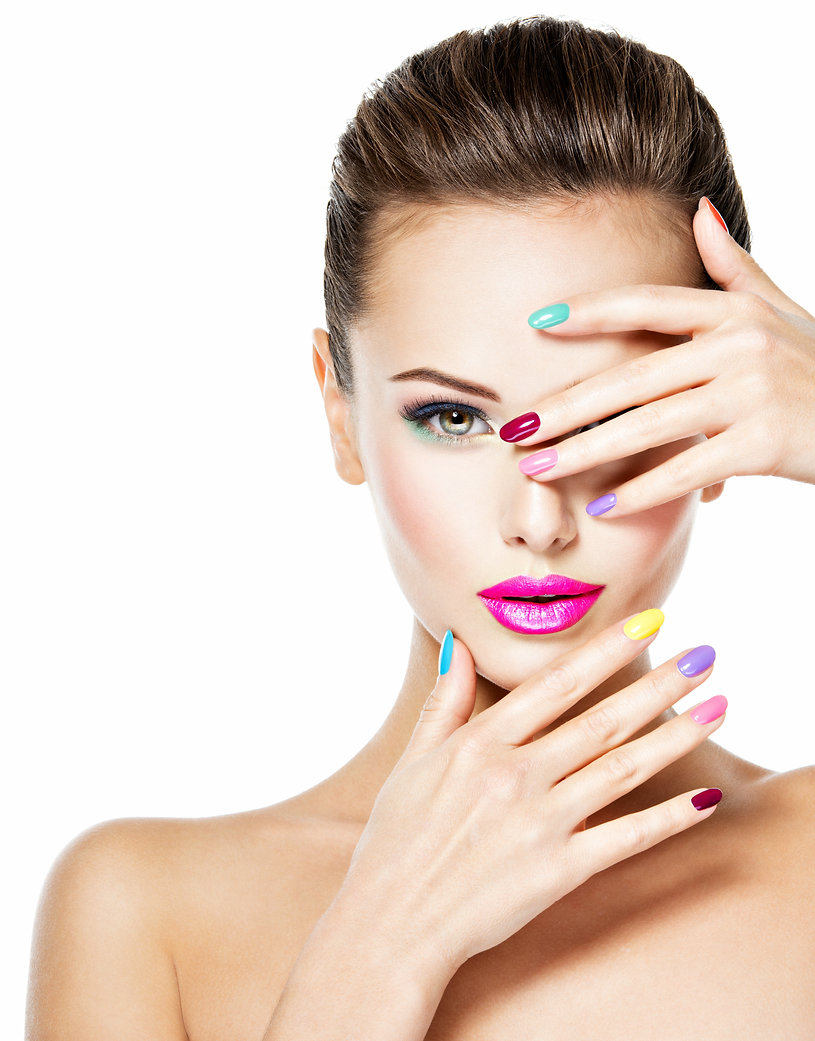 Beautiful woman  with colored nails and
