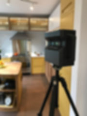 A matterport camera scanning a space