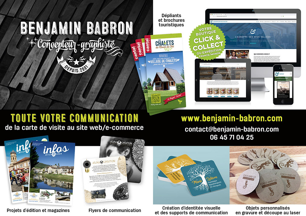 Benjamin Babron, toute votre communication, de la carte de visite au site web/e-commerce.