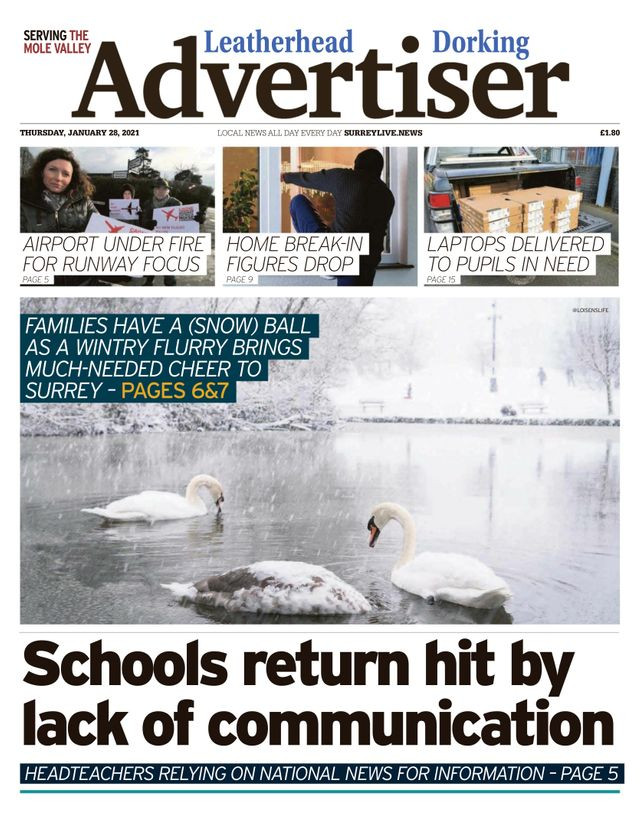 Leatherhead and Dorking Advertiser, Surrey Live, Snow Swans in the snow, snowy Surrey,