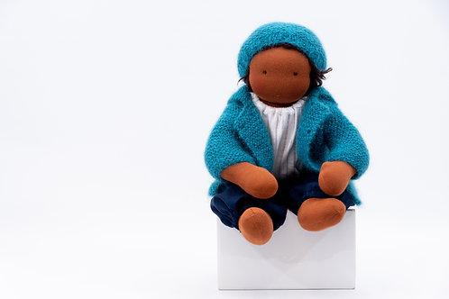 Hellblaue Puppenkleidung mit hellblauer Mütze - Größe 35 cm