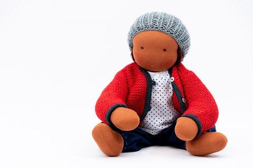 Rote Puppenkleidung mit hellgrauer Mütze  - Größe 35 cm