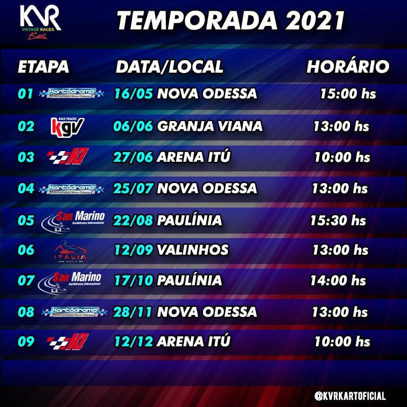 CALENDÁRIO TEMPORADA 2021