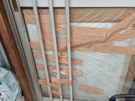 浜松市西区 玄関 引き戸 ガラス修理 割れかえ