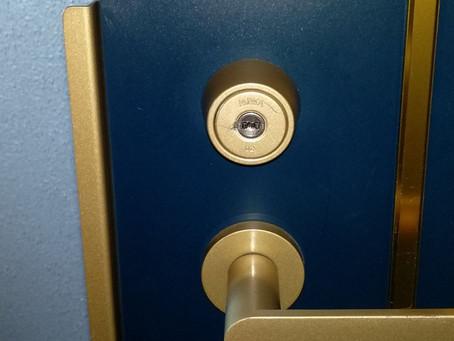 東松島市 玄関 鍵交換 鍵穴に接着剤 仮で交換