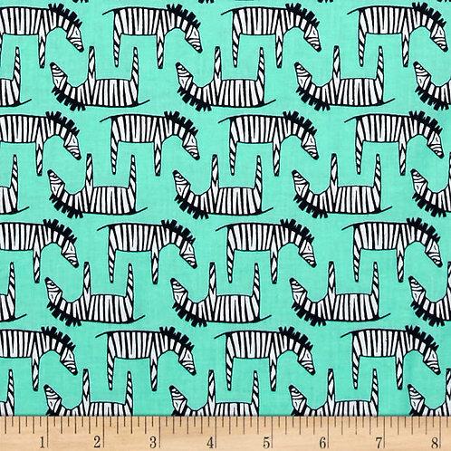 Zigzag Zebra Aqua- Michael Miller Fabrics
