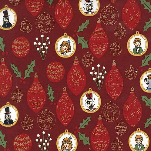 Ornaments Burgundy- Michael Miller Fabrics