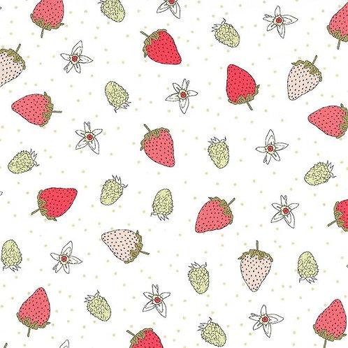 Fraises, Strawberry Tea Sage- Michael Miller Fabrics
