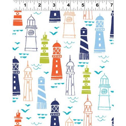 Nautical Fish Lighthouse Y2396-1- Clothworks Fabrics