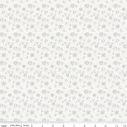 Snowflakes Silver Metallic on White - Liberty Fabrics