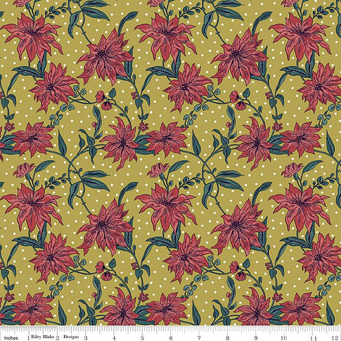 Poinsettia, Golden Green and Red- Liberty Fabrics
