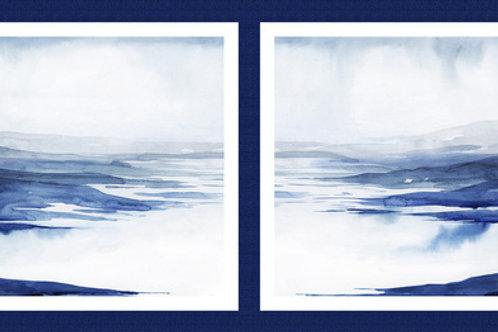 Indigo Landscape Panel - Studio E Fabrics