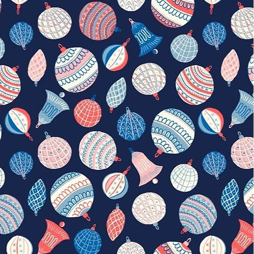 Merry & Bright Bauble Bonanza 929B BLUE- Liberty Fabric