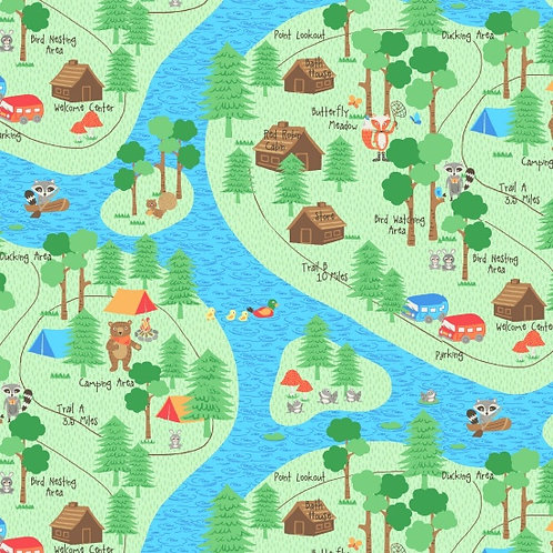 Camping Club, Map- Blank Quilting Fabrics