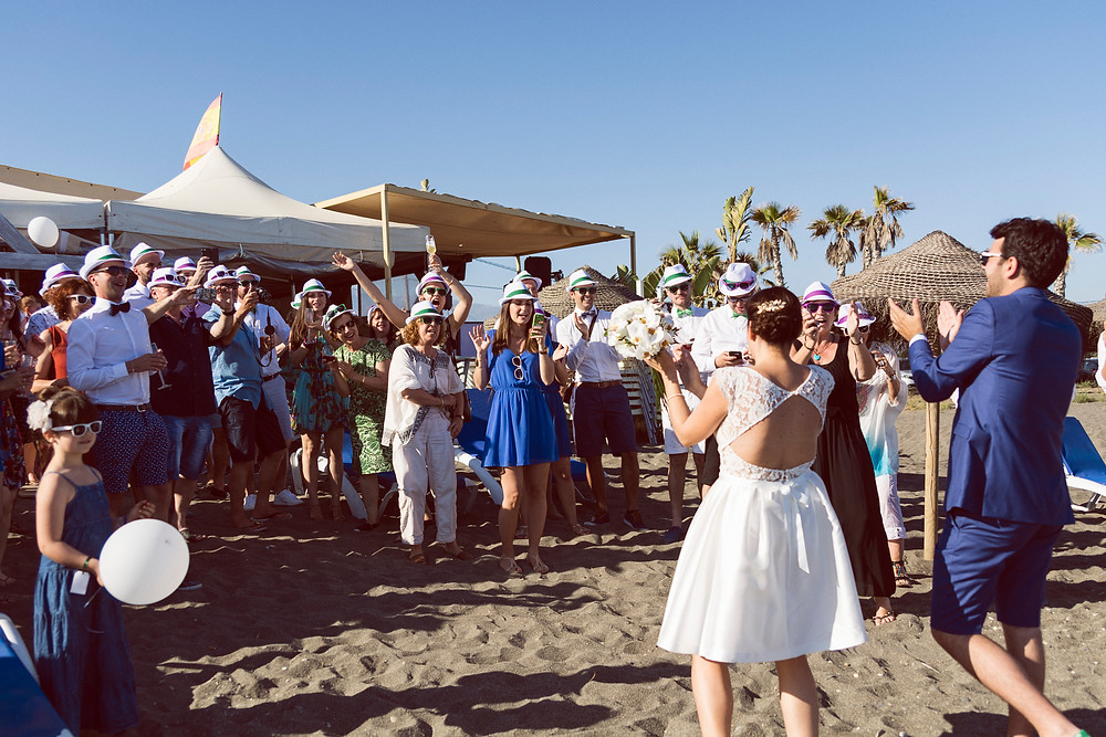 wedding party at the beach in malaga