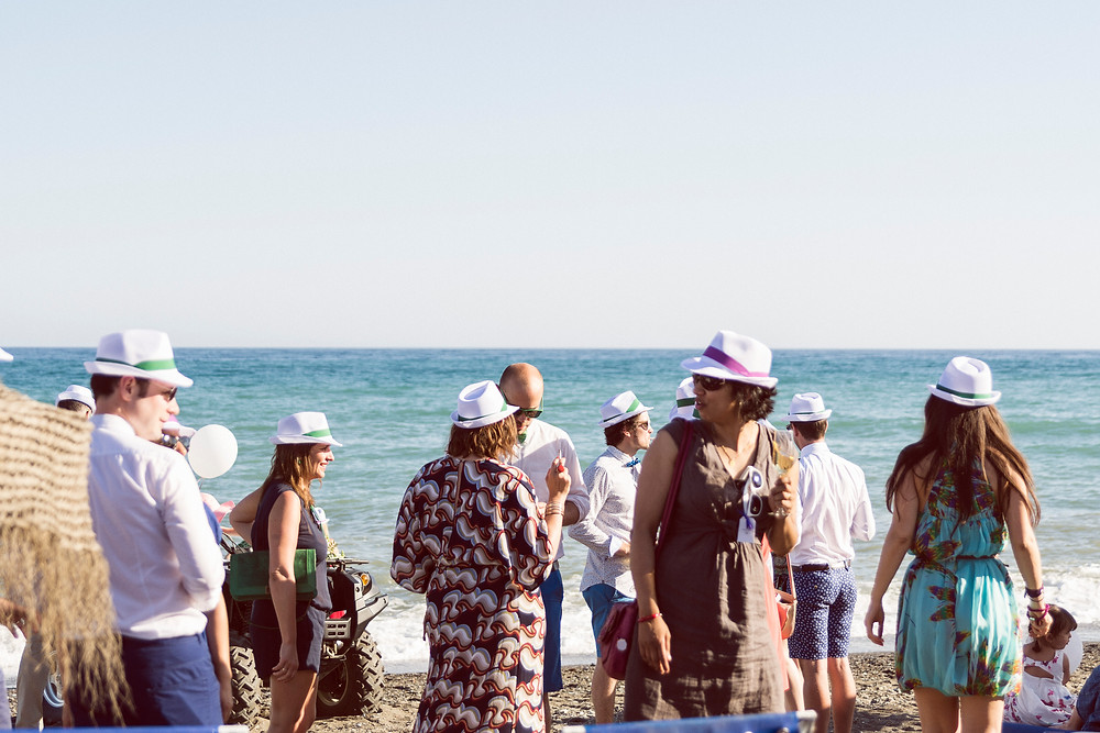 wedding party bath the beach in malaga
