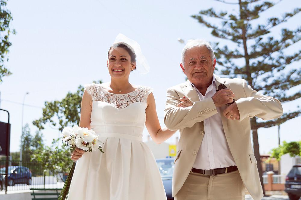 the bride and her father Boda Internacional en Malaga, International Wedding in Malaga